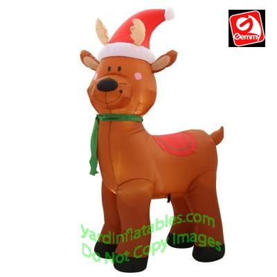 Gemmy Airblown Inflatable 6u0027 Reindeer Wearing Red Santa Hat And Green Scarf