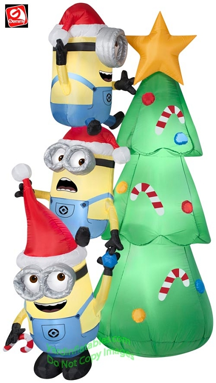 6 minions decorating christmas tree scene