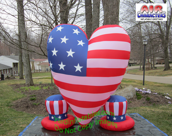 Gemmy Airblown Inflatable Patriotic Heart With 2 Small Hats Of Uncle Sam Indep July 4th