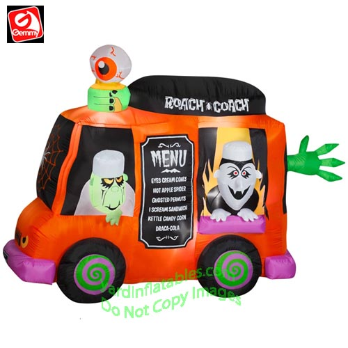 animated halloween roach coach food truck - Blow Up Halloween Decorations