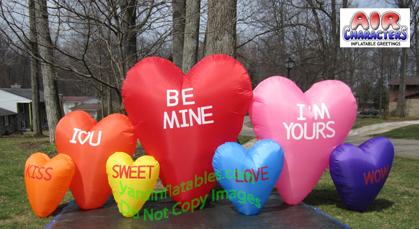 Air Blown Inflatable 7 Valentines Candy Hearts
