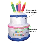7' Air Blown Inflatable Birthday Cake w/ Banners
