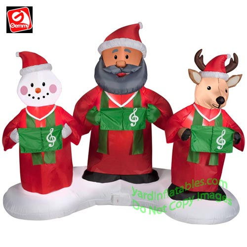 Gemmy Airblown Inflatable 6' African American Santa, Snowman, and ...