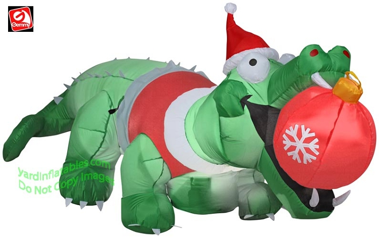 Inflatable santa lookup beforebuying for Alligator yard decoration