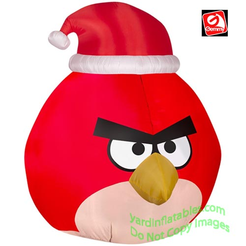red angry bird wearing santa hat - Christmas Blow Ups