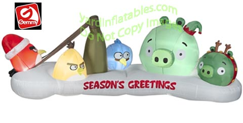 inflatable angry birds christmas scene - Christmas Angry Birds