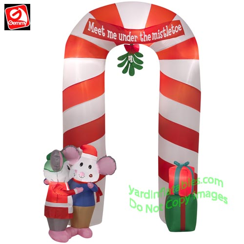 gemmy airblown inflatable 9 mistletoe mice w presents candy cane archway scene