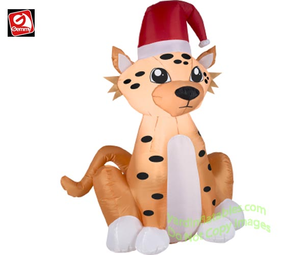 Gemmy Airblown Inflatable 3 1/2u0026#39; Christmas Cheetah Wearing Santa Hat