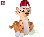 3 1/2' Christmas Cheetah Wearing Santa Hat