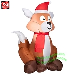 3 1/2' Christmas Fox Wearing Santa Hat