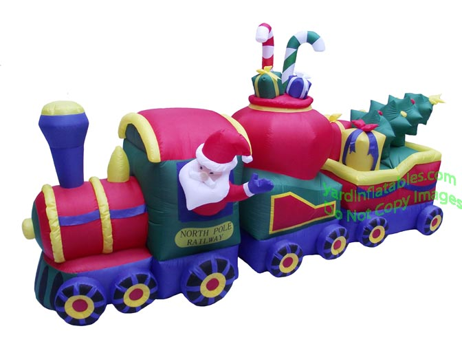 air blown 12 inflatable christmas train - Christmas Train Yard Decoration