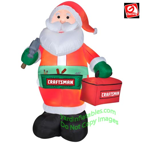 gemmy airblown inflatable 6 craftsman santa holding tool box