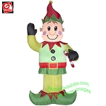 7' Elf Waiving And Holding Candy Cane