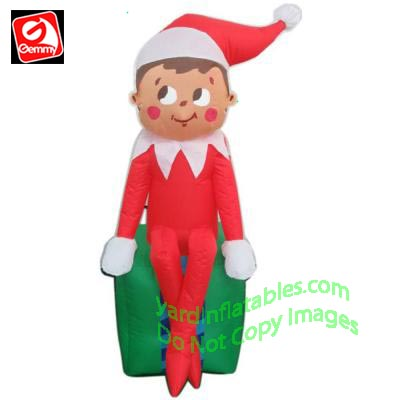 Gemmy Airblown Inflatable 3 12 Elf On The Shelf Sitting On Present