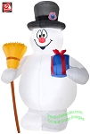 6' Frosty The Snowman Holding Broom And Present