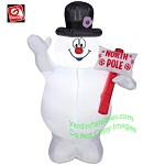 3 1/2' Frosty The Snowman Holding North Pole Sign