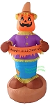 8' Scarecrow With Pumpkin Head Holding Banner