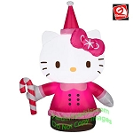 3 1/2' Hello Kitty Wearing Santa Suit Holding Candy Cane