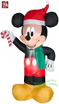 3 1/2' Mickey Wearing Santa Hat Holding Candy Cane
