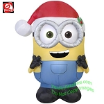 3 1/2' Minion BOB Wearing Red Overalls & Santa Hat