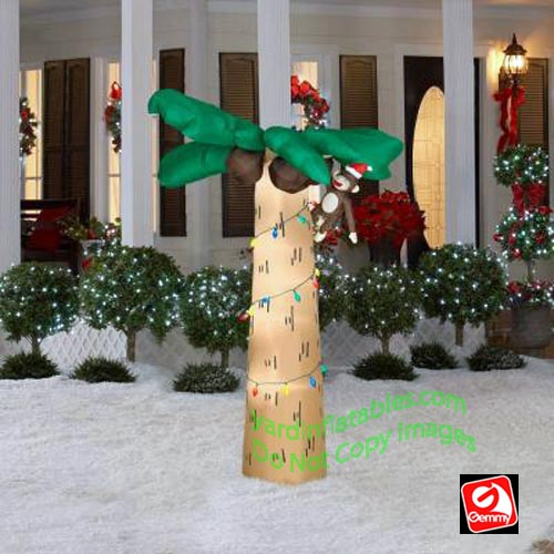 monkey in palm tree wearing santa hat - Cheap Inflatable Christmas Lawn Decorations