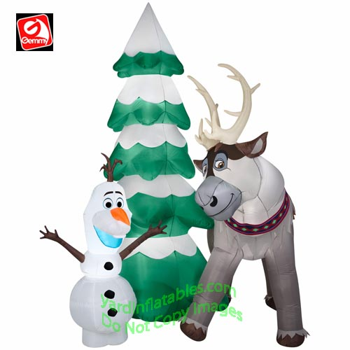 gemmy airblown inflatable 9 olaf sven christmas tree scene - Disney Inflatable Christmas Decorations