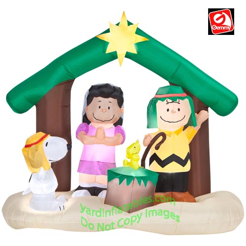 peanuts nativity inflatable christmas decorations - Lighted Snoopy Mailbox Outdoor Christmas Decoration