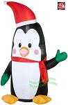 4' Penguin Wearing Green Mittens & Santa Hat