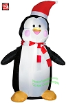 4' Penguin Wearing Santa Hat & Red/White Striped Scarf