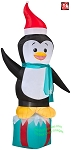 7' Penguin Standing On Present