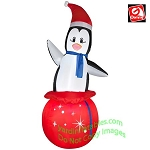 7' Penguin In Red Gift Sack