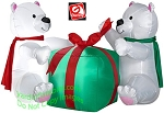 4' Polar Bear Cubs Playing with Gift Box