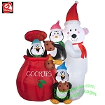 Animated Polar Bear w/ Penguins In Cookie Jar Scene