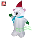4' Polar Bear Wearing Santa Hat & Green Mittens