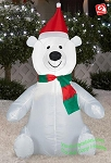 3 1/2' Polar Bear Wearing Santa Hat