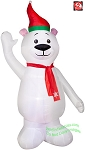 7' Polar Bear Waiving Right Hand Wearing Red Scarf