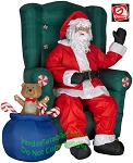 Animated Realistic Santa In Chair w/ Teddy Bear and Gift Sack