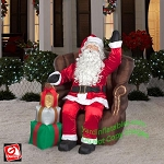 Realistic Santa In Chair w/ Stack Of Gifts