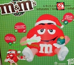 5ft Red M&M with Santa Hat
