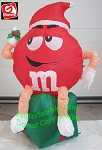 3.5' Red M&M Sitting On Present Holding Mistletoe