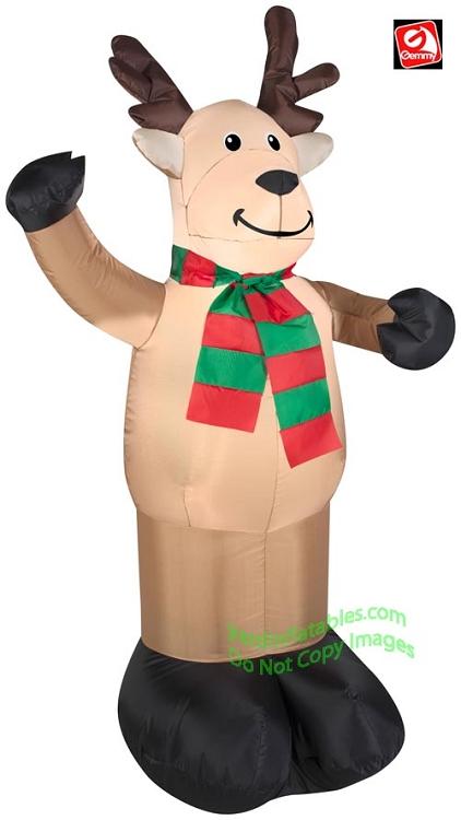 Genial 4u0027 Reindeer Waiving Wearing Red U0026 Green Striped Scarf
