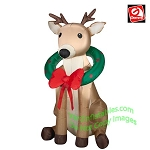 3 1/2' Christmas Reindeer With Wreath Around Neck