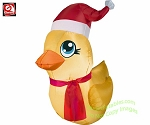 3' Rubber Ducky Wearing Santa Hat