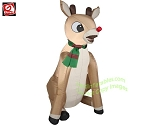 3' Rudolph Sitting Wearing Red/Green Striped Scarf
