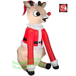 Rudolph Sitting Wearing Santa Suit