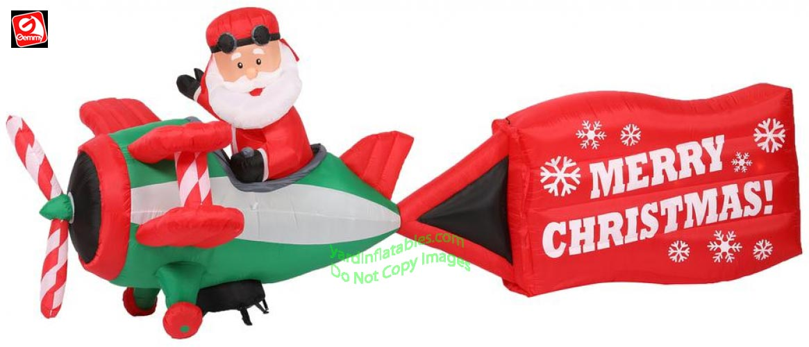 gemmy airblown inflatable 16 santa riding on airplane