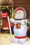 6' Santa Astronaut Holding North Pole Flag