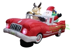 8' Air Blown Animated Inflatable Santa Driving Christmas Car
