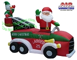 7' Inflatable Fire Truck Ladder Santa Snowman