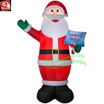 12' GIANT Santa w/ North Pole Sign